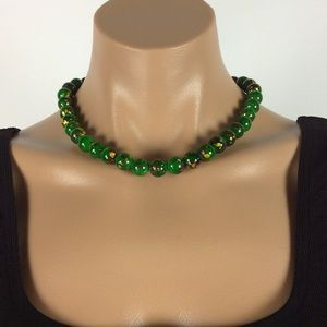 New Green Splashed Paint Necklace Set